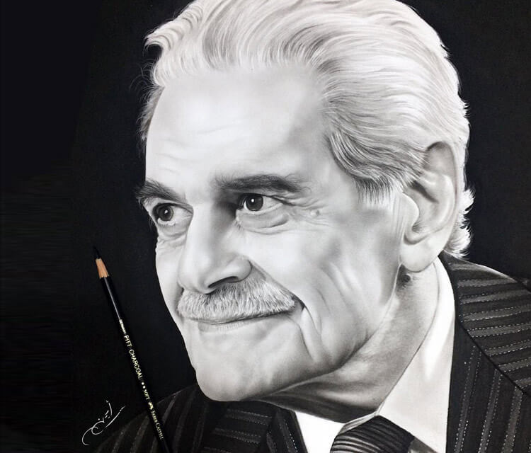 Omar Al Sharif drawing by Ayman Arts