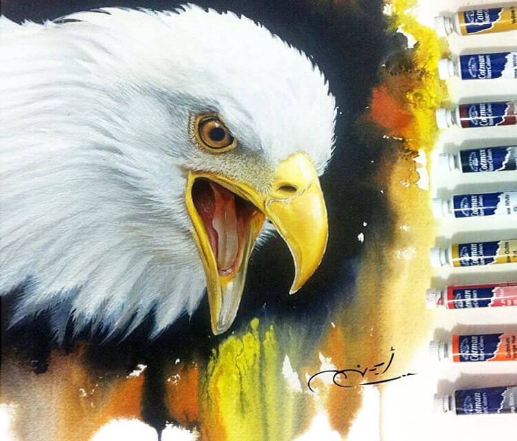 Eagle painting with oil by Ayman Arts