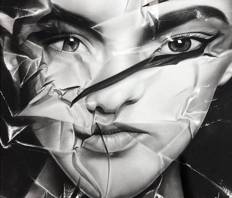 Paper Face drawing by Ayman Arts