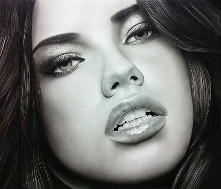 Portrait drawing of Adriana Lima by Ayman Arts