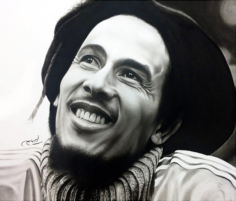 Drawing portrait of Bob Marley by Ayman Arts