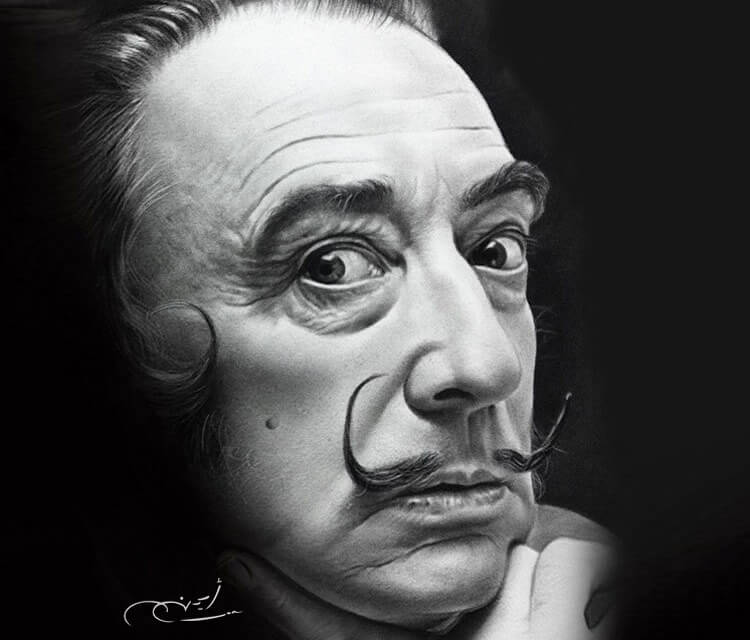 Portrait drawing of Salvador Dali by Ayman Arts