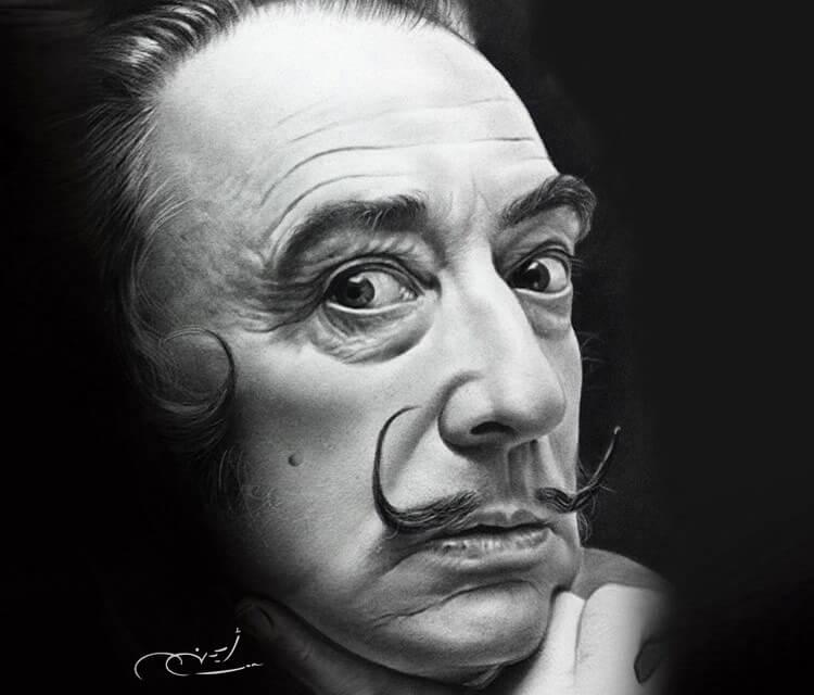 Portrait drawing of Salvador Dali by Ayman Arts