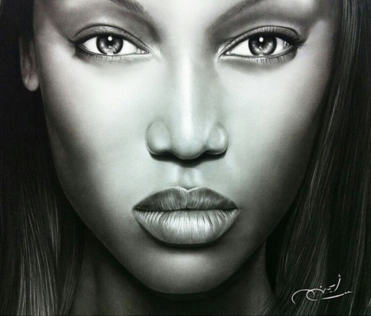 Portrait drawing of Tyra Banks by Ayman Arts