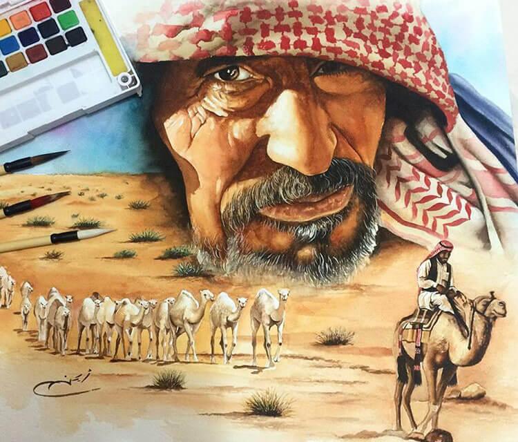 Sahara camels painting by Ayman Arts