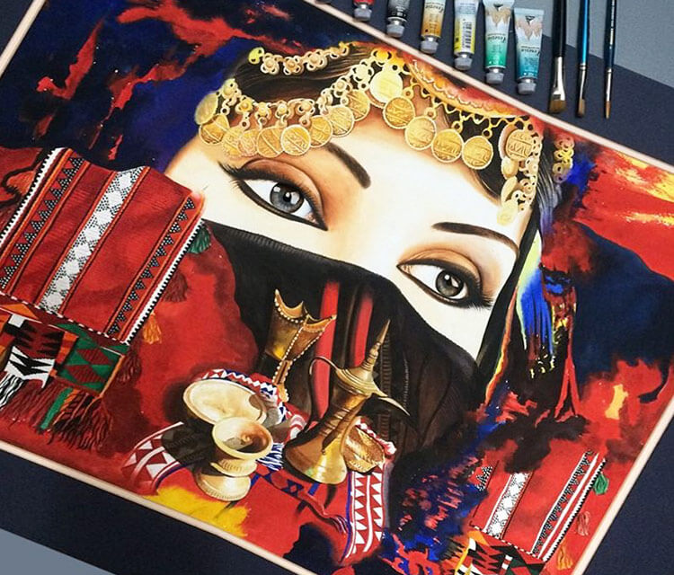 Sahara woman painting by Ayman Arts