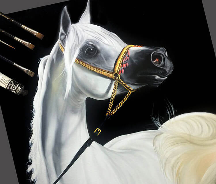White Horse painting by Ayman Arts