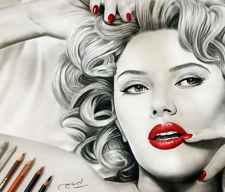 Woman portrait drawing by Ayman Arts