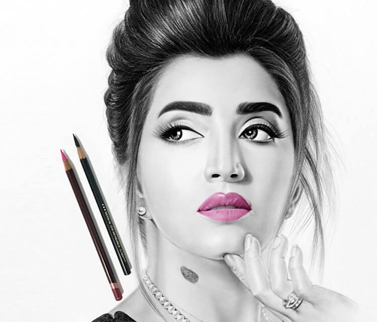 Woman Portrait3 drawing by Ayman Arts