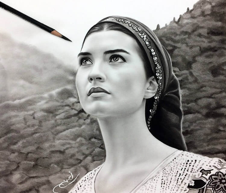 Woman Portrait4 drawing by Ayman Arts