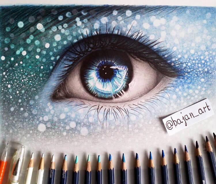 Blue eye drawing by Bajan Art