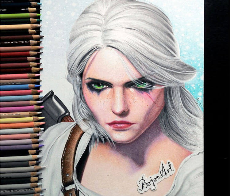Ciri from The Witcher color drawing by Bajan Art