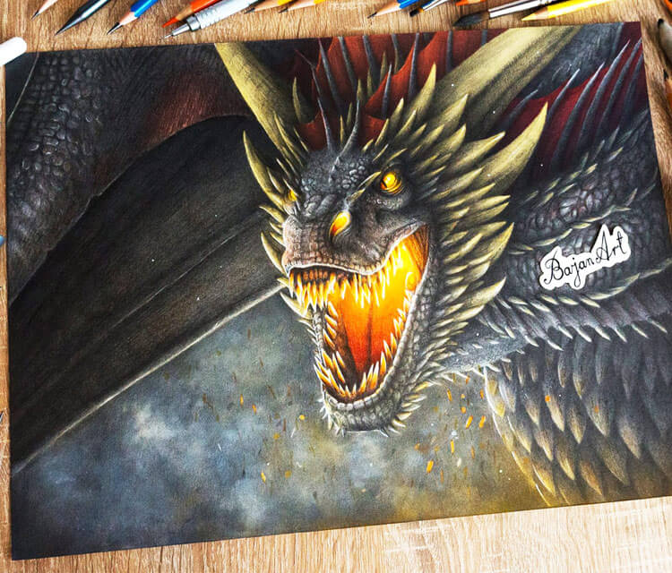 Drogon pencil drawing by Bajan Art