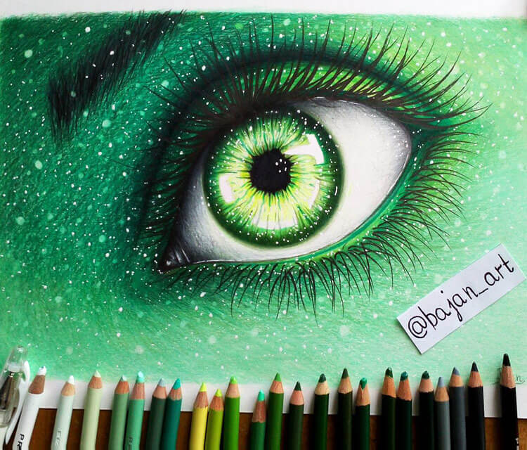 Green eye drawing by Bajan Art