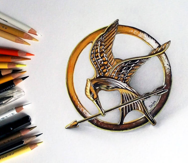 The Mockingjay from The Hungers Games by Bajan Art