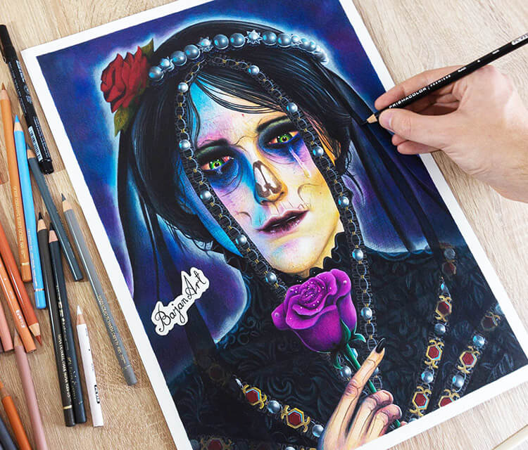 Iris Von Everec color drawing by Bajan Art