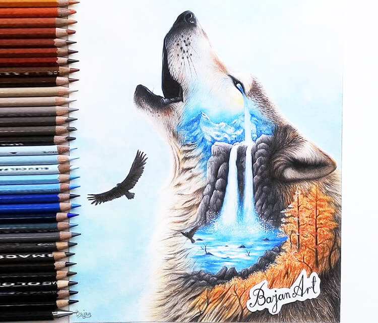 Lonely color drawing by Bajan Art
