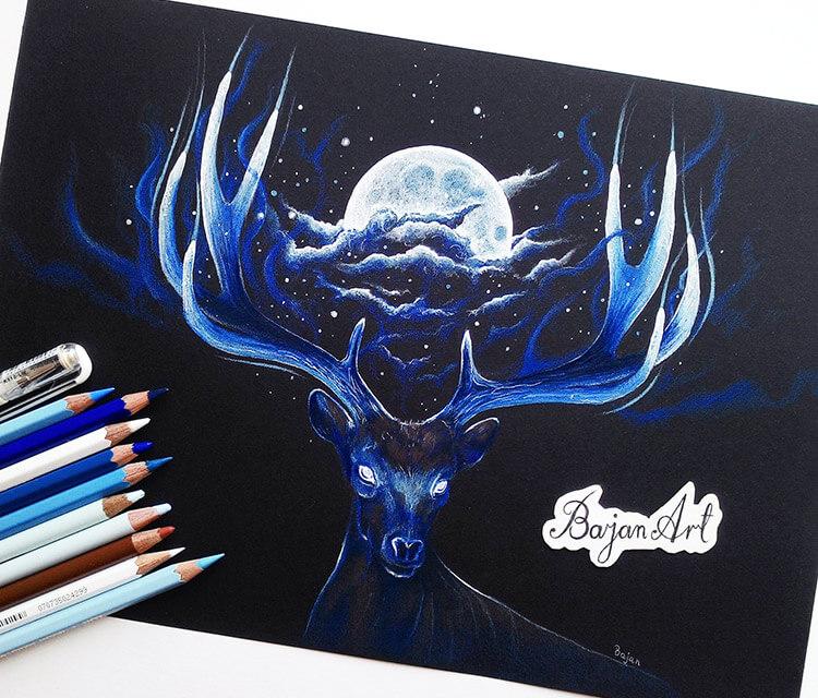 Night color drawing by Bajan Art