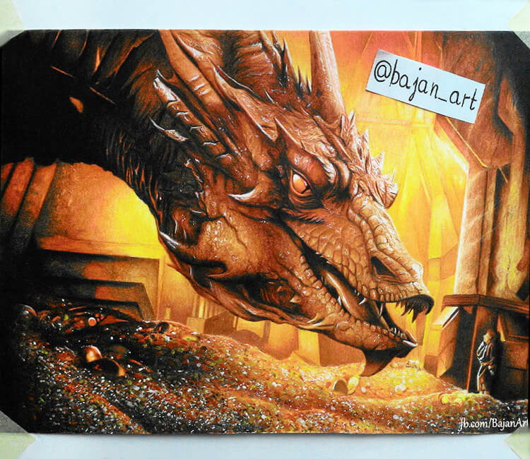 Very nice color pencil drawing work Smaug with Hobbit by Bajan A