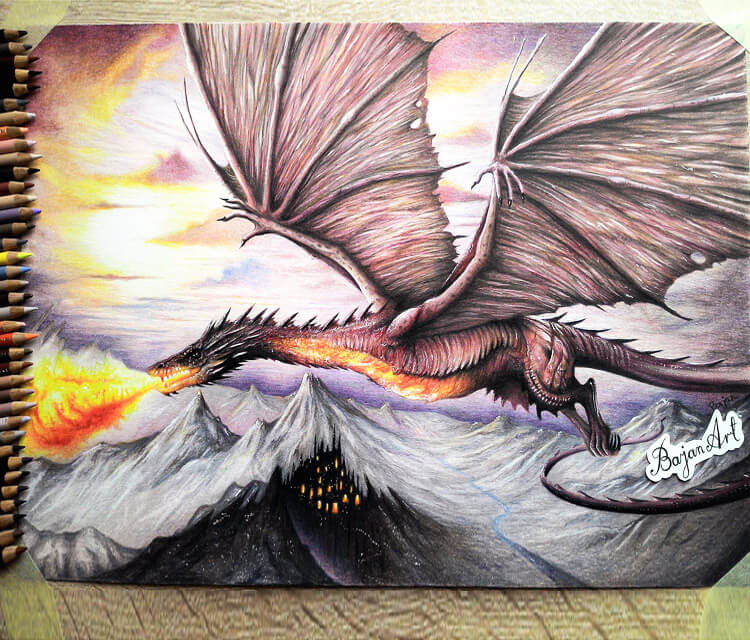 Smaug from Hobbit drawing by Bajan Art