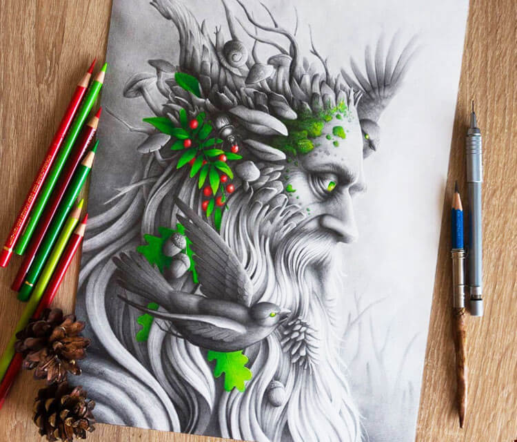 The Forest God pencil drawing by Bajan Art