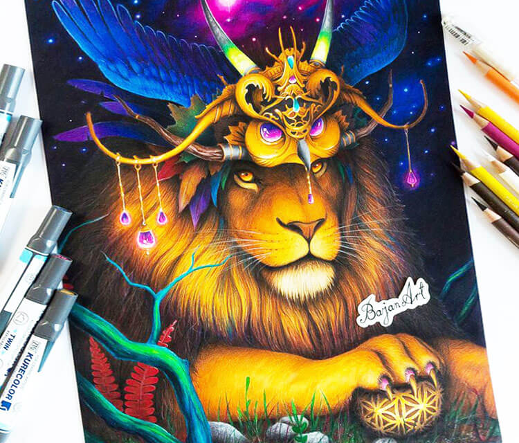 The Great Creator color drawing by Bajan Art