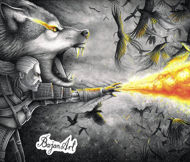 The Witcher White Wolf pencil drawing by Bajan Art