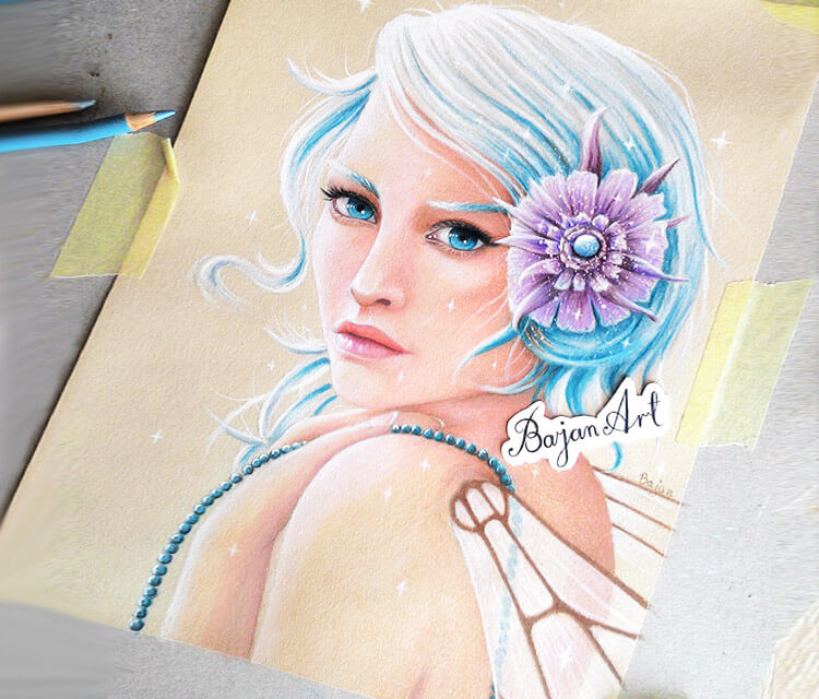 Turquoise color drawing by Bajan Art