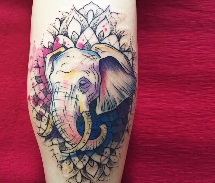 Mandala elephant tattoo by Bambi Tattoo