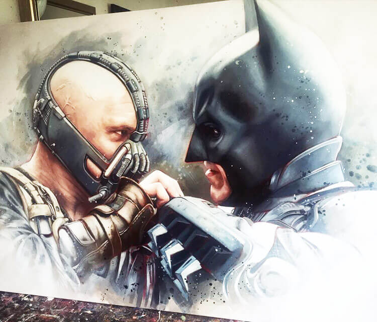 Bane vs Batman painting by Ben Jeffery