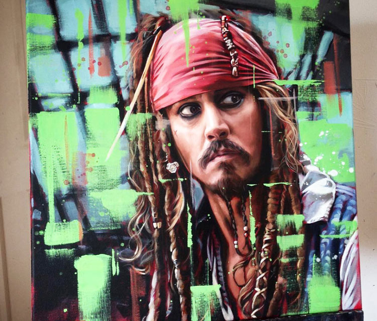 Captain Jack Sparrow oil painting by Ben Jeffery