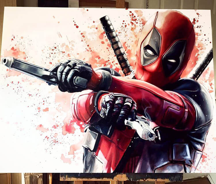 Deadpool oil painting by Ben Jeffery