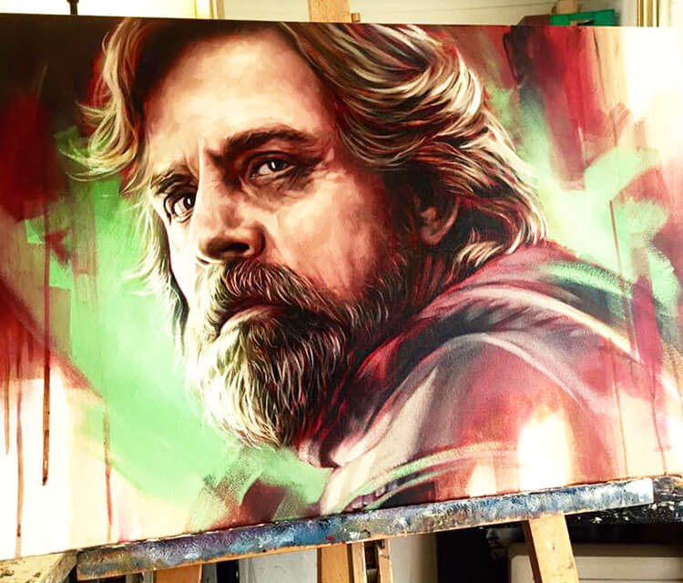 Luke Skywalker painting by Ben Jeffery