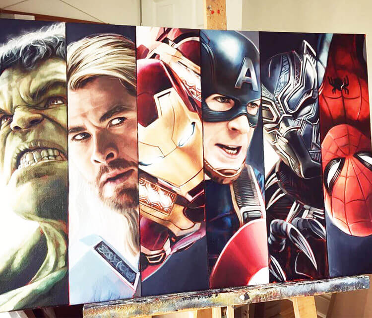 New Avengers oil painting by Ben Jeffery
