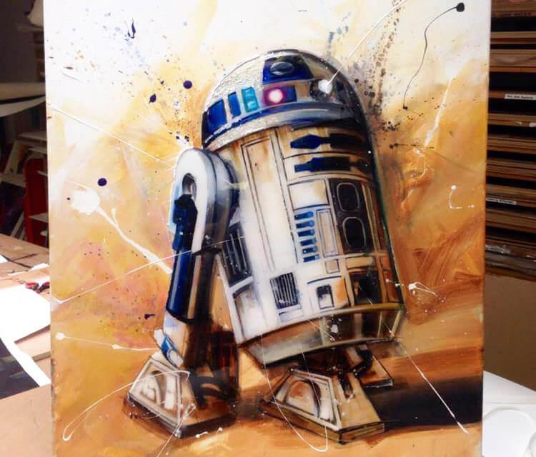 R2D2 oil painting by Ben Jeffery