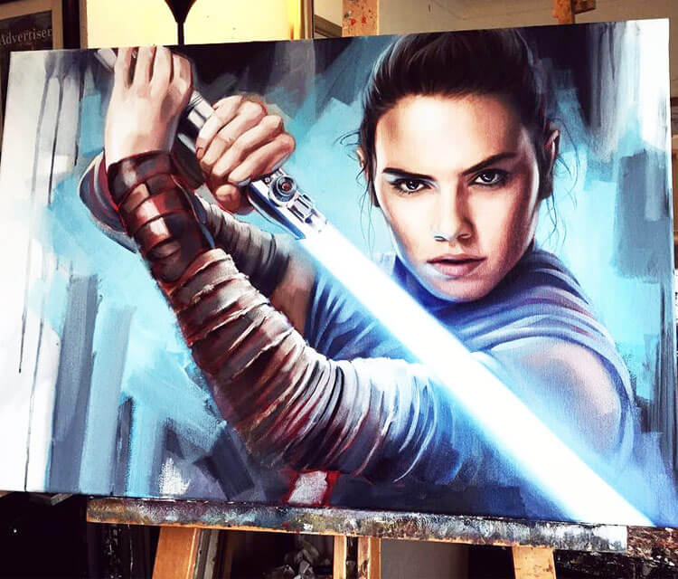 Rey acryl painting by Ben Jeffery
