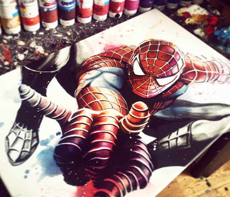 Spiderman oil painting by Ben Jeffery