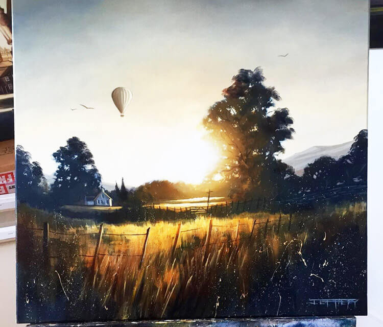 Sunset oil painting by Ben Jeffery