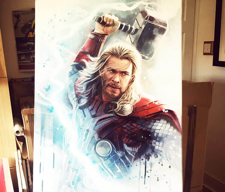Thor oil painting by Ben Jeffery