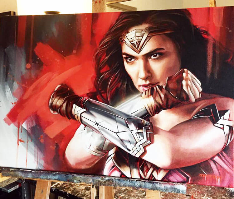 Wonder Woman oil painting by Ben Jeffery