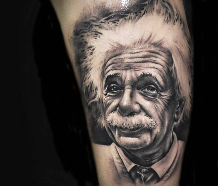 Portrait tattoo of Albert Einstein by Benjamin Laukis