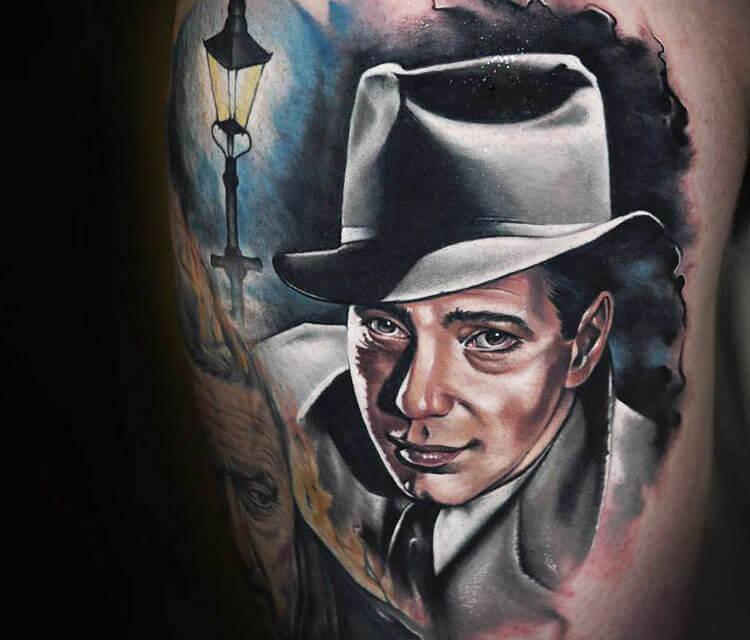 Portrait tattoo of Bogart by Benjamin Laukis