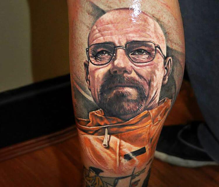 Portrait tattoo of Walter White by Benjamin Laukis