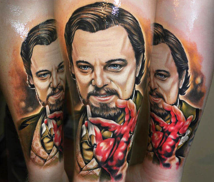 Leonardo di Caprio portrait tattoo by Benjamin Laukis