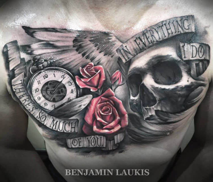 Chest tattoo by Benjamin Laukis