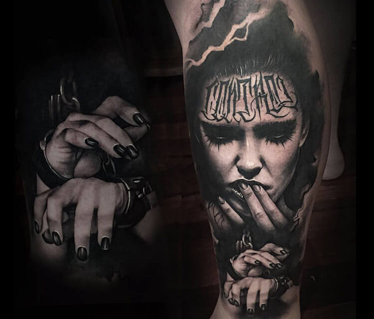 Control portrait tattoo by Benjamin Laukis