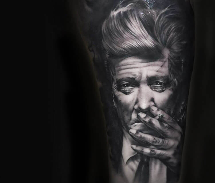 Portrait tattoo of David Lynch by Benjamin Laukis