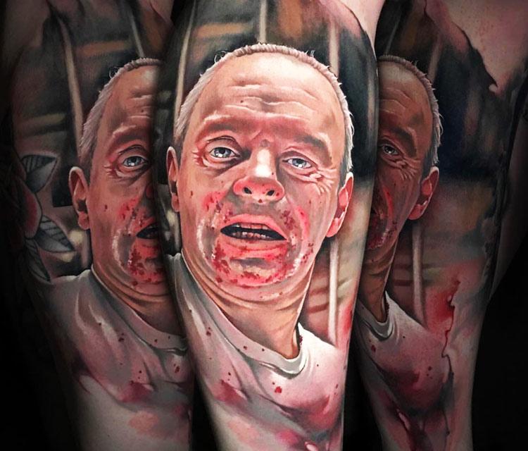 Hannibal Lecter tattoo by Benjamin Laukis