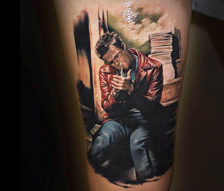 Tattoo of Tyler Durden from fight club by Benjamin Llaukis