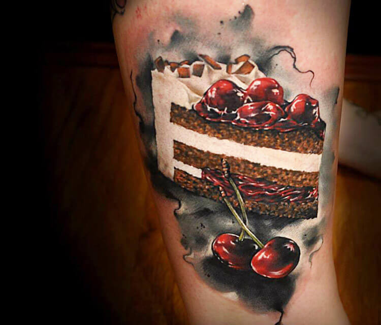 Tattoo of Food Cake by Benjamin Laukis